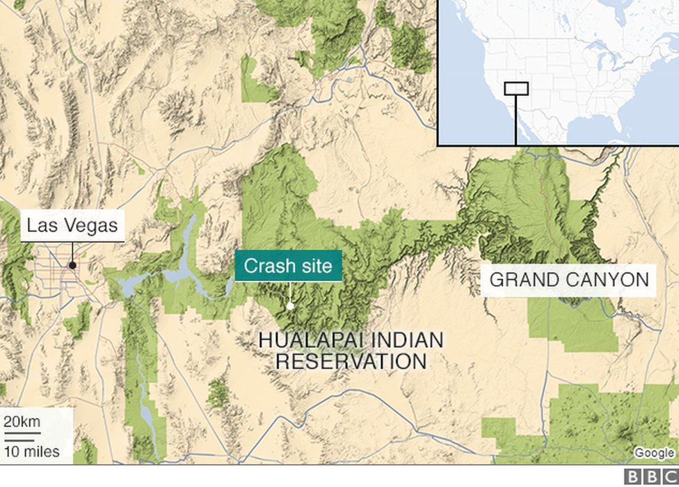 Map: Location of the helicopter crash near the Grand Canyon