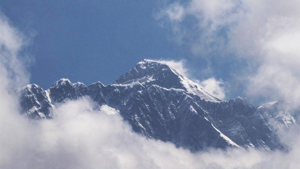 Mount Everest, as seen from Namche Bazar, Solukhumbu district, Nepal 27 May 2019