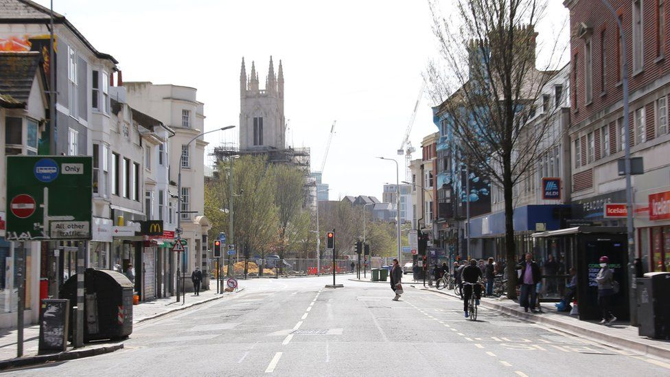 Brighton town centre was mostly deserted, but some visitors were reprimanded