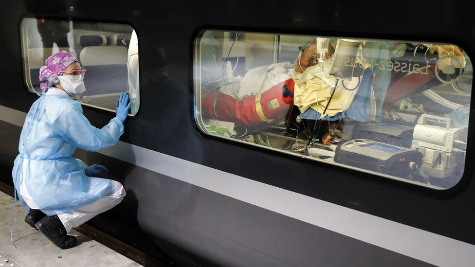 Two high-speed trains in France have been equipped to move patients infected with Covid-19 out of the Paris region