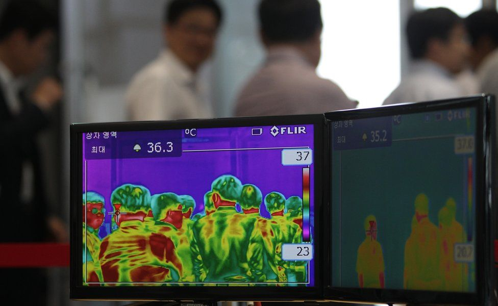 Thermal image of visitors to a business complex