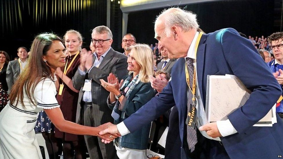 Gina Miller shaking Sir Vince Cable's hand