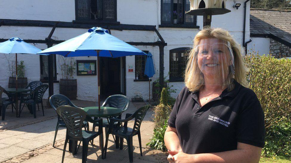 Kelly Jolliffe, landlady of the Greyhound Inn and Hotel in Usk