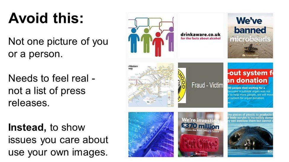 "Slide: ""avoid this"" with examples of graphics without people"