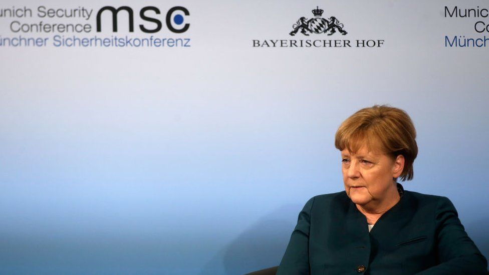German chancellor Angela Merkel looks on at the 2017 Munich Security Conference