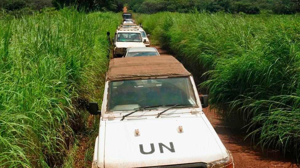 UN vehicles in convoy on the way to Bocaranga in the Central African Republic