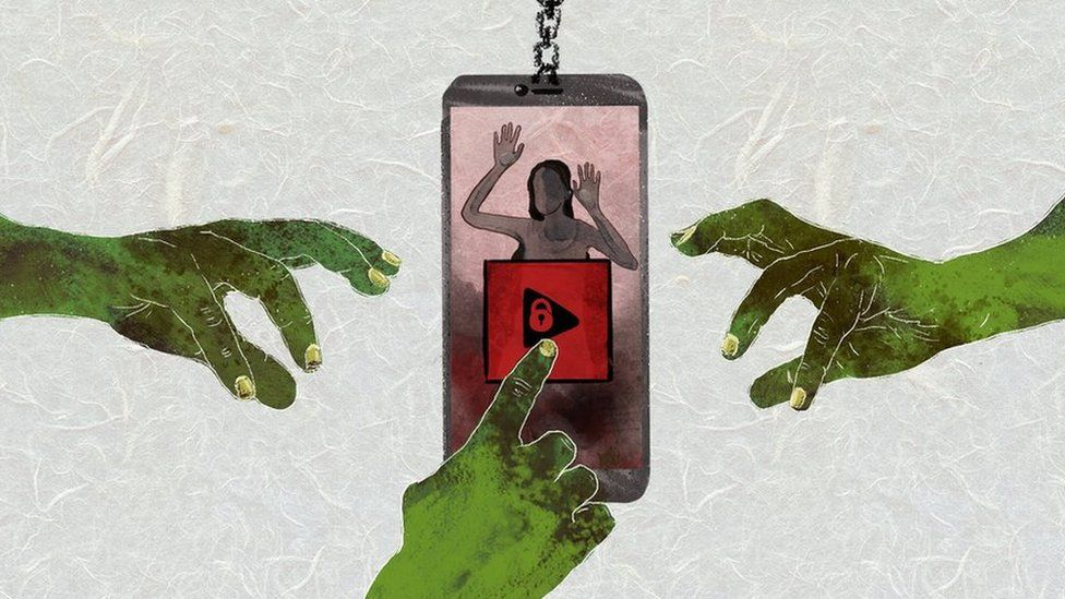 An animation showing three diseased hands reaching for a mobile phone inside which a woman is trapped