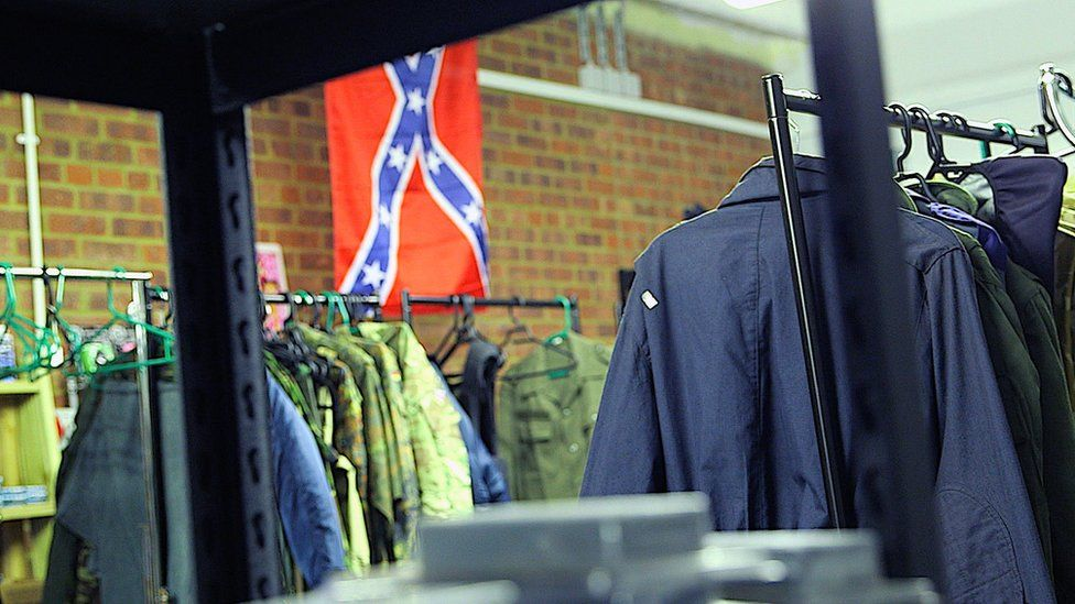 The Confederate flag hangs at the back of Lincoln's store