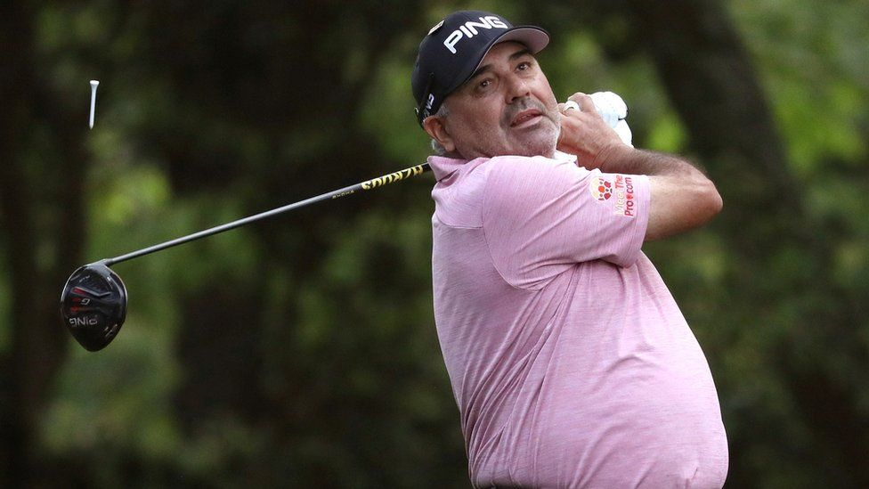 Angel Cabrera of Argentina hits off the second tee during first round play of the 2019 Master golf tournament at Augusta National Golf Club in Augusta, Georgia, U.S., April 11, 2019