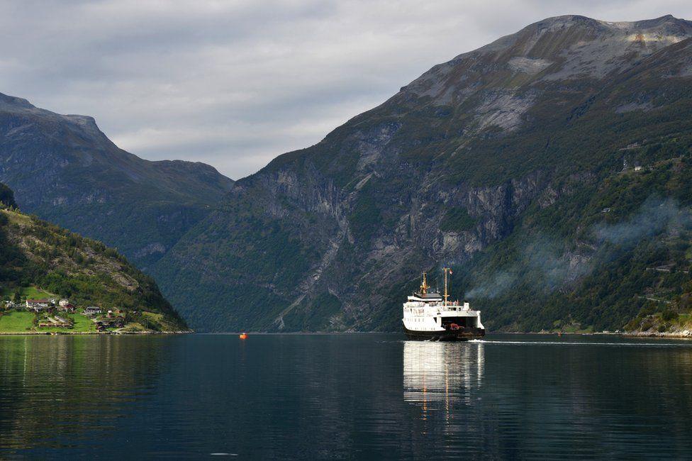 Car ferry crossing Geiranger Fjord