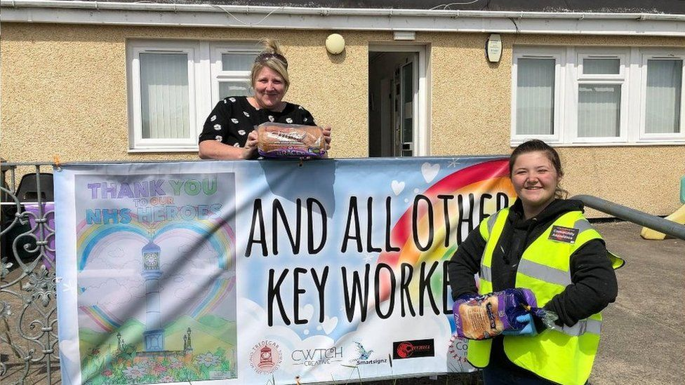 Claire Morris of the Nantybwch and Waundeg community group and Ffion Cudlip, a film student with Cymru Creations which set up the project, were two of the volunteers