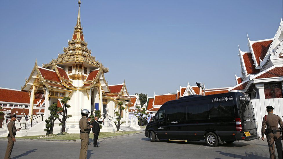 The Leicester City chairman's hearse arriving for funeral rites at Wat Debsirindrawas Ratchaworawiharn Temple in Bangkok, Thailand