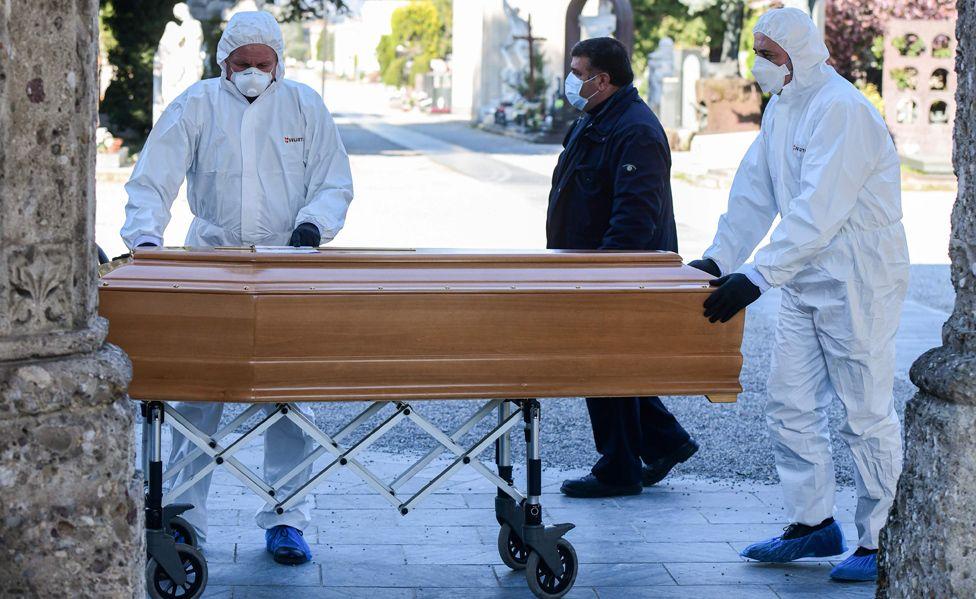 Bergamo burial of coronavirus victim, 16 Mar 20
