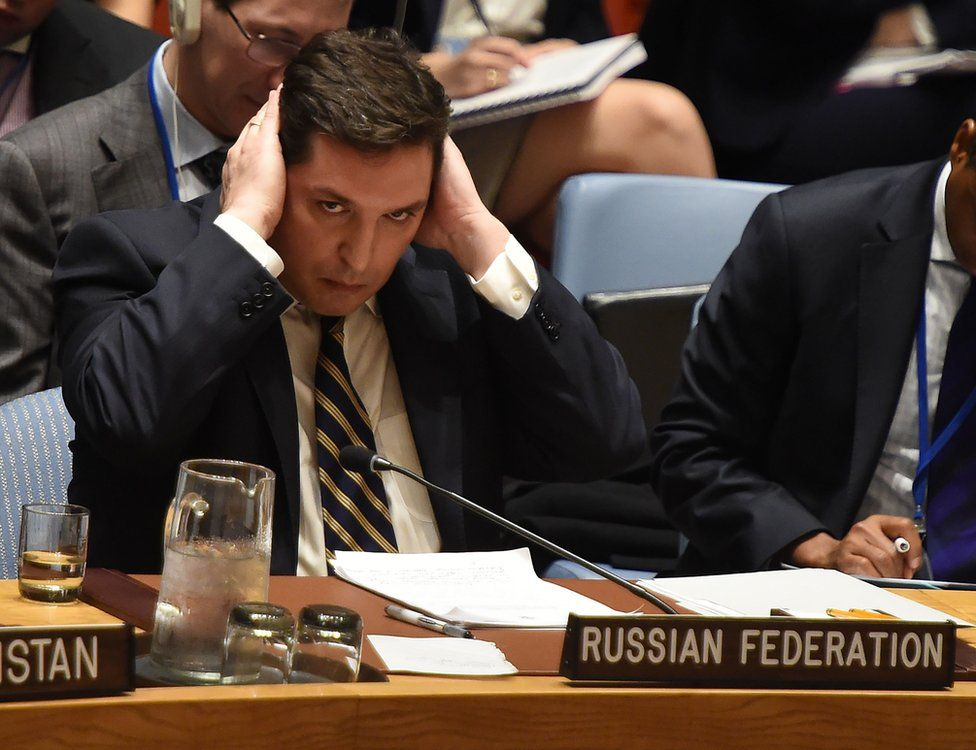 Russia's deputy UN ambassador, Vladimir Safronkov, attends the United Nations Security Council meeting in New York, 5 April