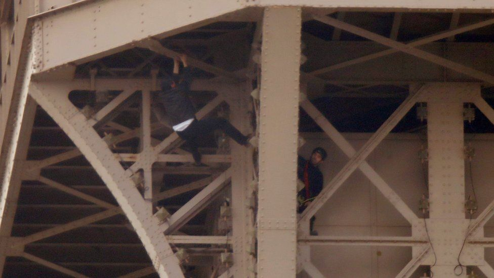 Rescue workers attempted to reach the man, whose motivation was unclear