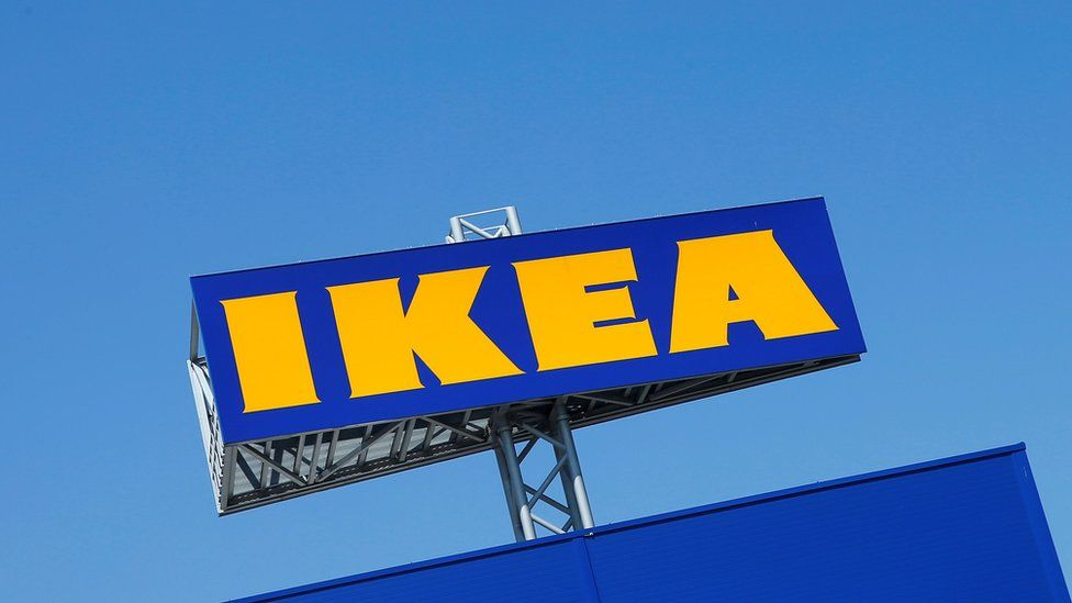 A file photo of the IKEA's logo, as seen above a store in Voesendorf, Austria