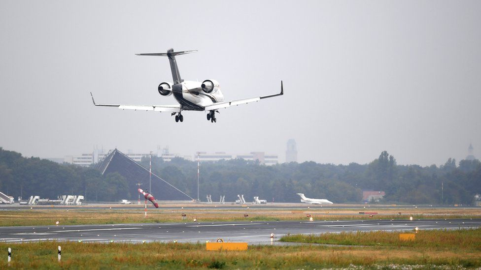 Russian opposition activist Alexei Navalny arrives at the Tegel airport in Berlin, Germany, 22 August 2020