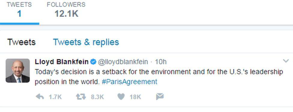 A tweet from Lloyd Blankfein, Goldman Sachs boss