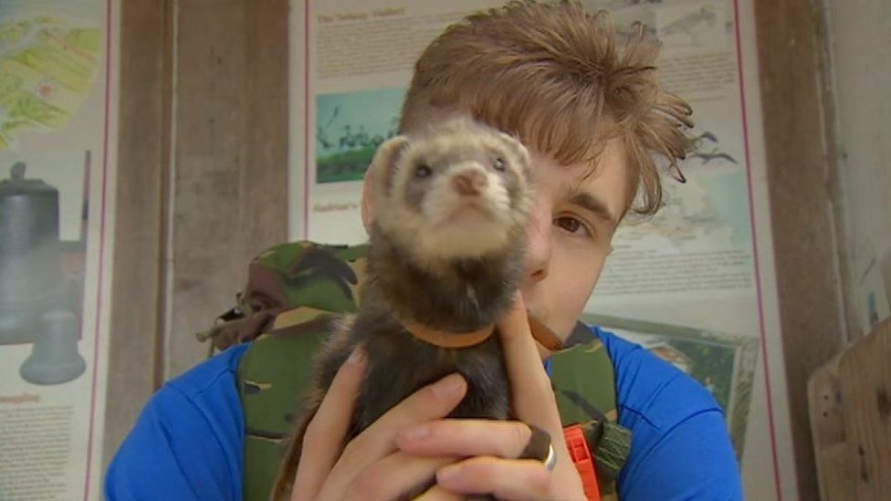 Charlie Hammerton and Bandit the ferret