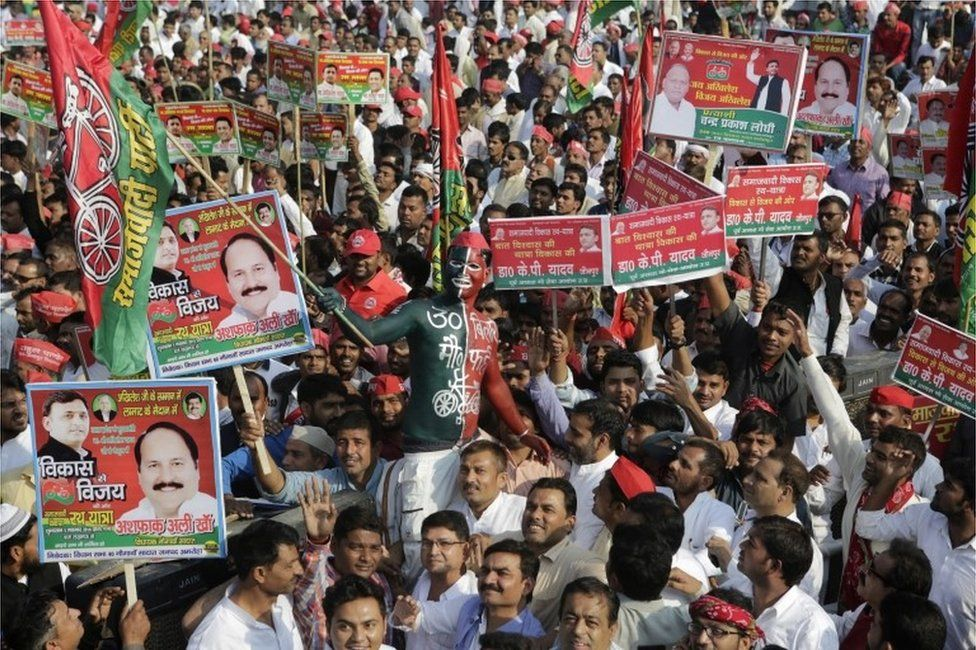 """Samajwadi Party supporters gather for the launch of the party""""s election campaign for the state of Uttar Pradesh, in Lucknow, India, Thursday, Nov. 3, 2016."""