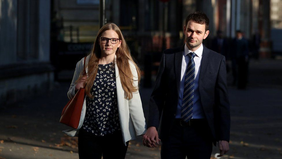 Daniel and Amy McArthur, who own Ashers Bakery in Belfast, arrive at the Supreme Court in London, Britain, October 10, 2018