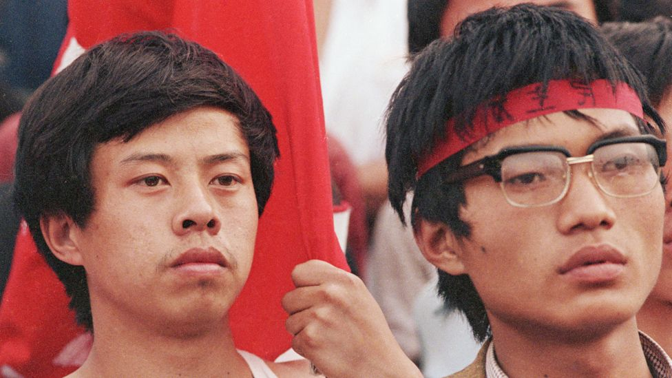 Protesters in Tiananmen Square