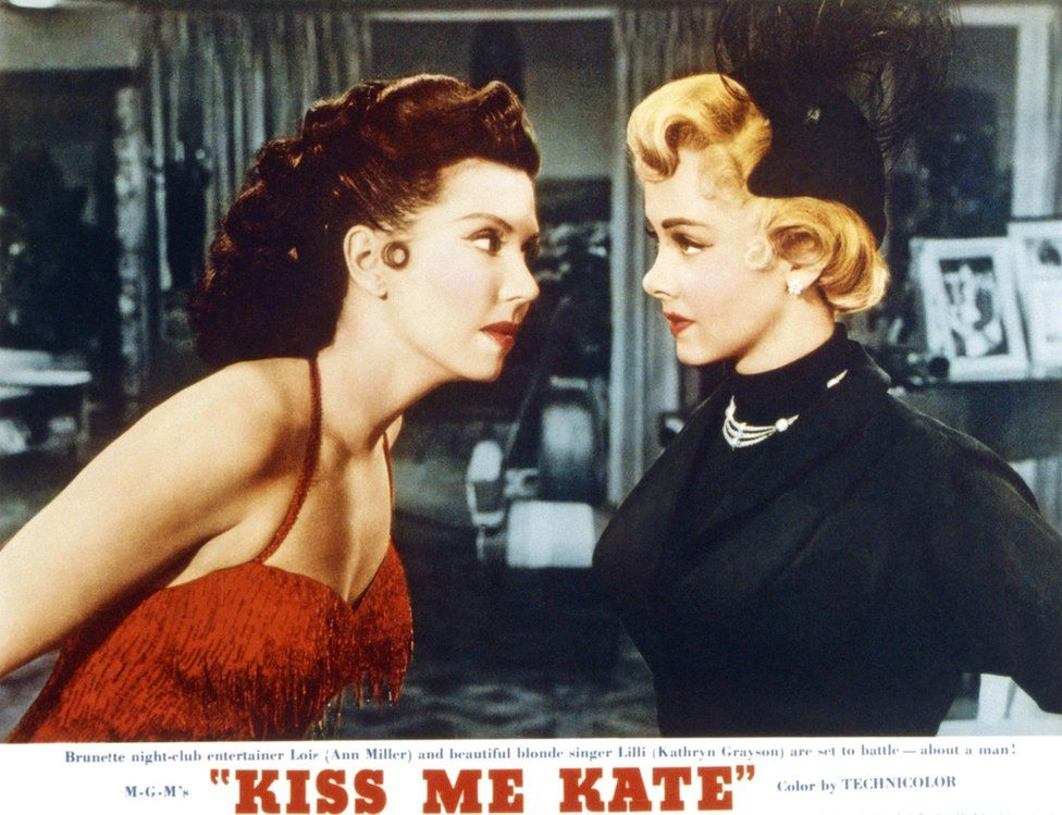 The Bard's The Taming of the Shrew inspired the film Kiss Me Kate with Ann Miller (L) and Kathryn Grayson (R) in 1953
