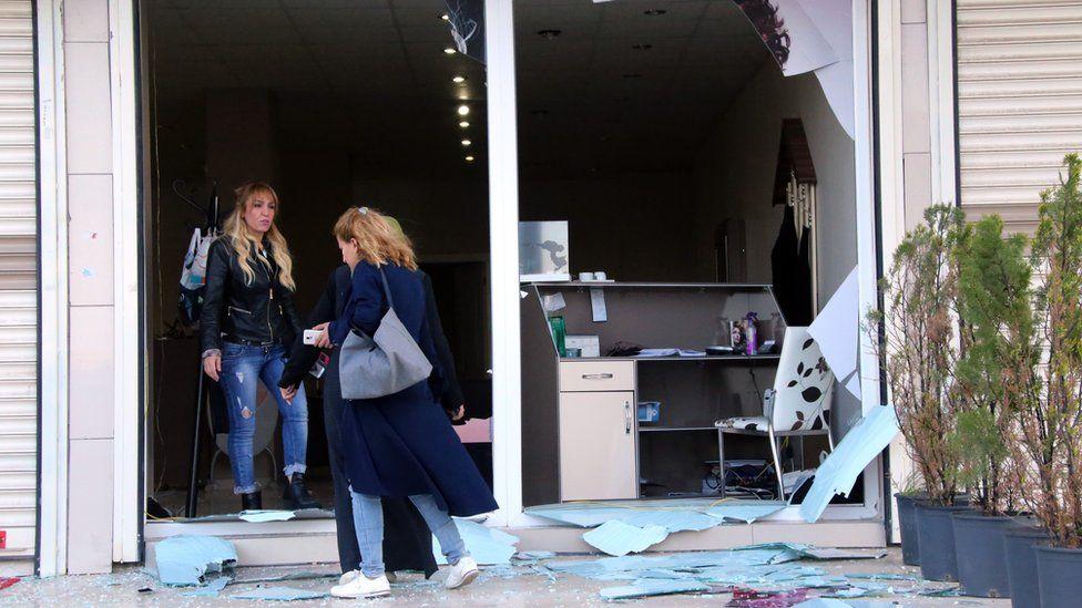Broken windows after a bomb blast in Diyarbakir, Turkey