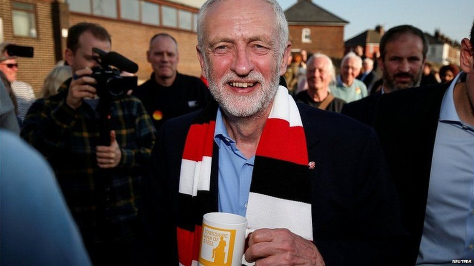 Jeremy Corbyn at a campaign rally in Rotherham during the campaign
