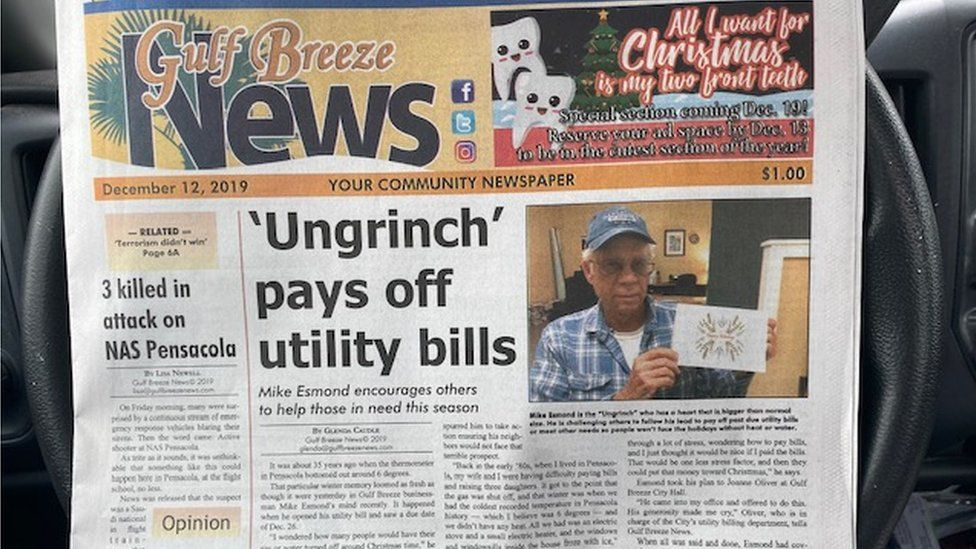 His charity was featured on the front page of his local newspaper