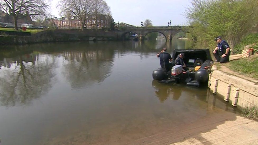 Dive team in the River Severn taken on Wednesday