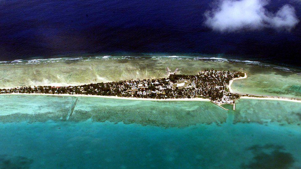 Tarawa atoll, capital of the vast archipelago nation of Kiribati