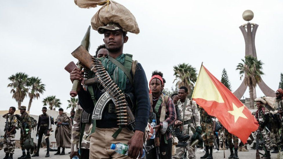 Soldiers of Tigray Defence Forces (TDF) prepare to leave for another field at Tigray Martyr's Memorial Monument Center in Mekele, the capital of Tigray region, Ethiopia, on June 30, 2021