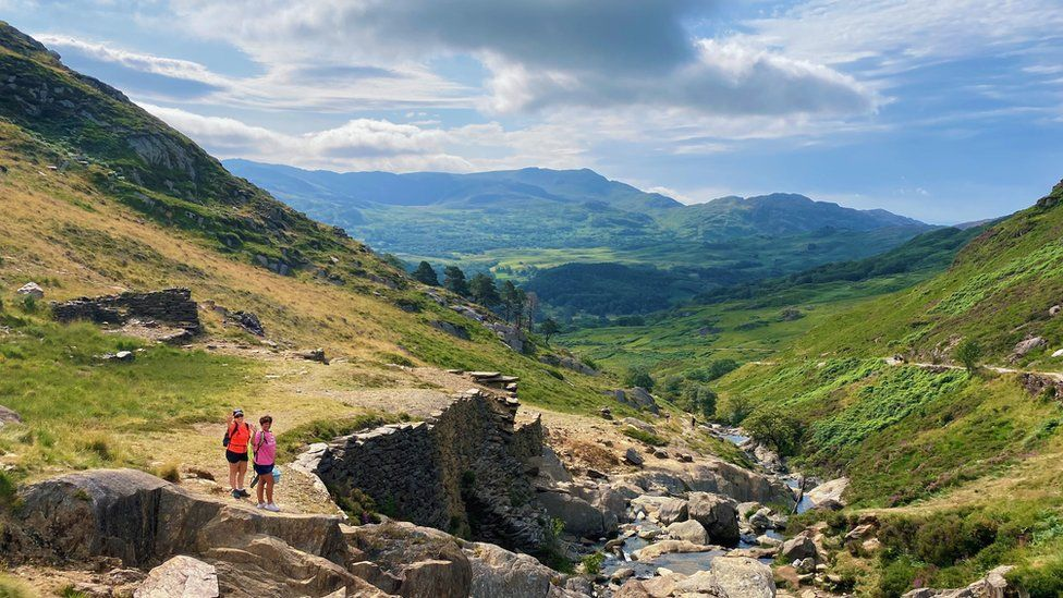 Walkers enjoyed the sunnier weather on Mount Snowdon in Gwynedd on Saturday