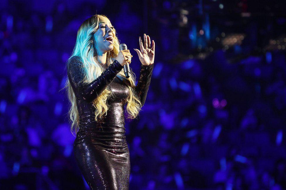Mariah Carey performing at Alibaba's gala event marking 2018 Singles Day in China.
