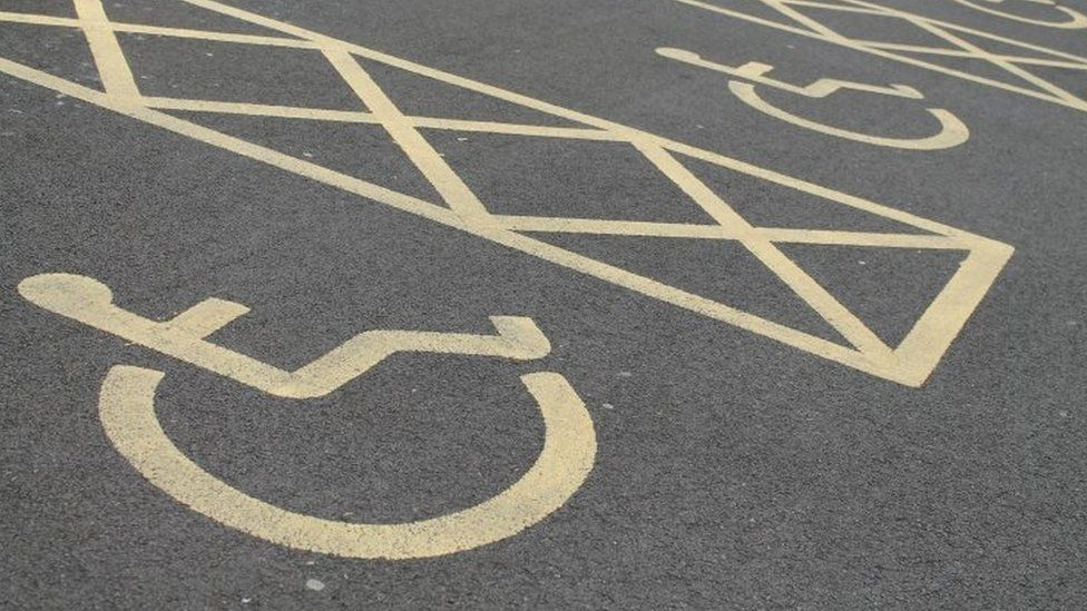 File photo showing painted disabled parking bays.