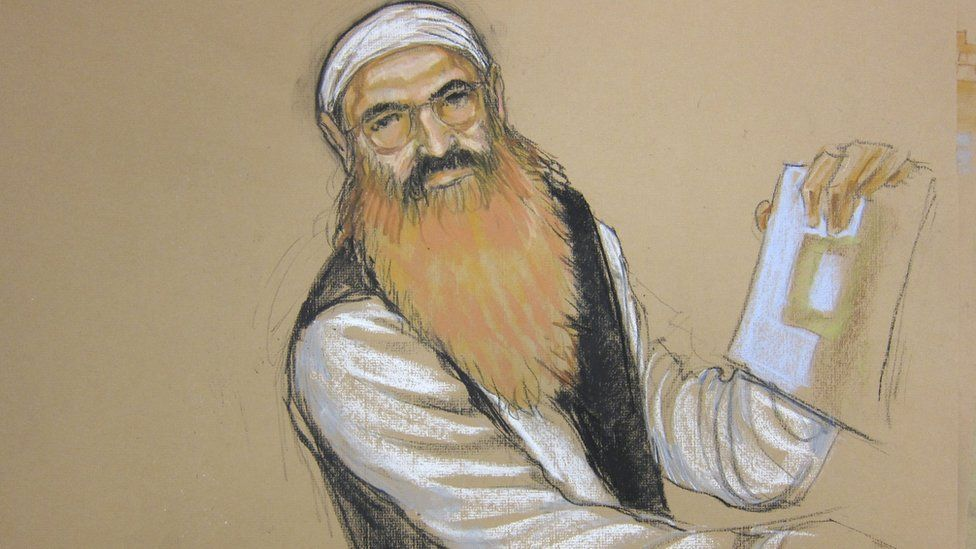 A courtroom sketch of Khalid Sheikh Mohammed.