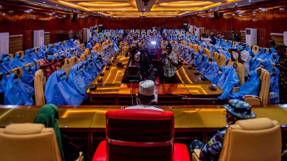 Girls in blue hijab at Zamfara state government house
