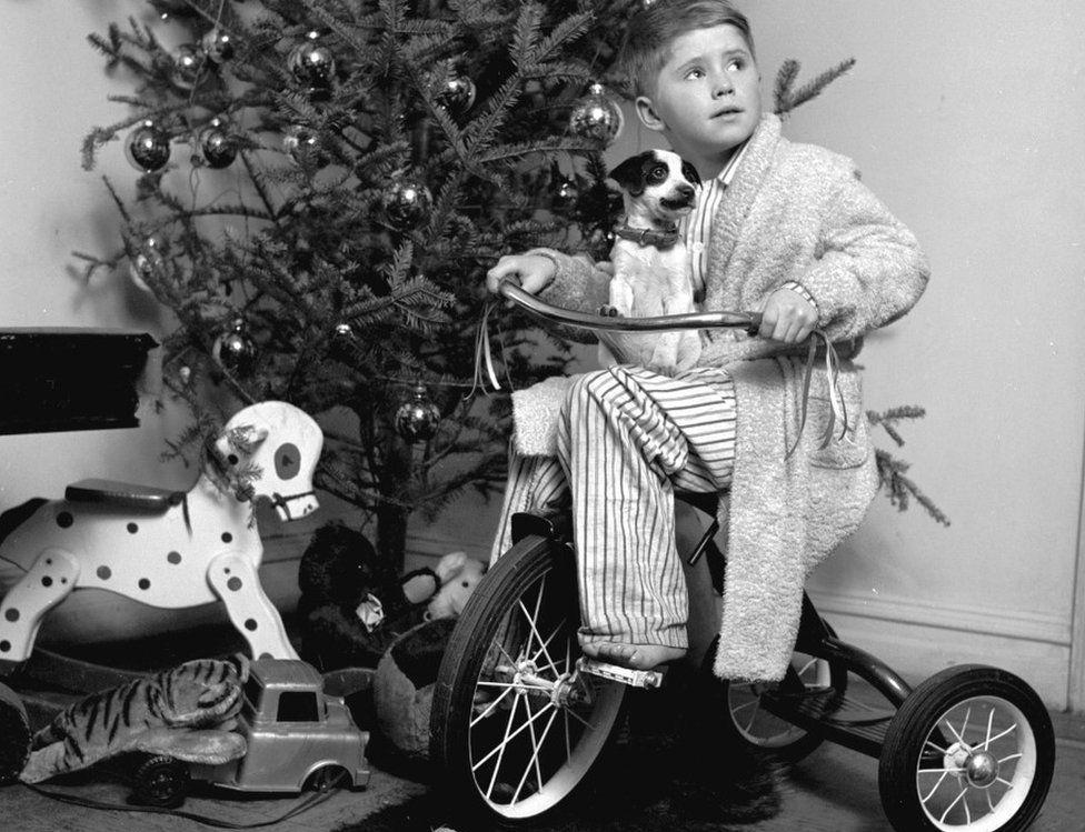 Boy on bike at Christmas
