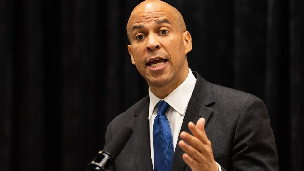 Cory Booker speaking at a conference earlier this year