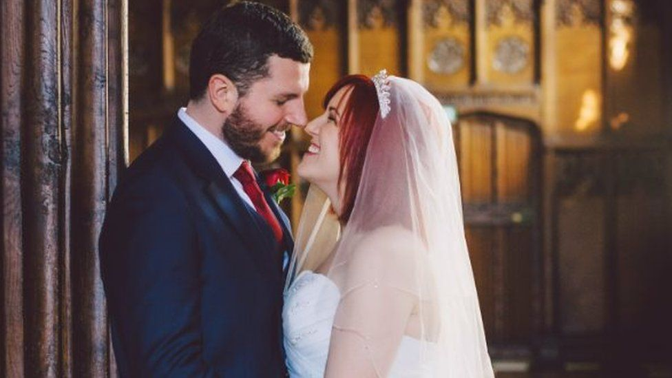 Thomas and Sophie on their wedding day