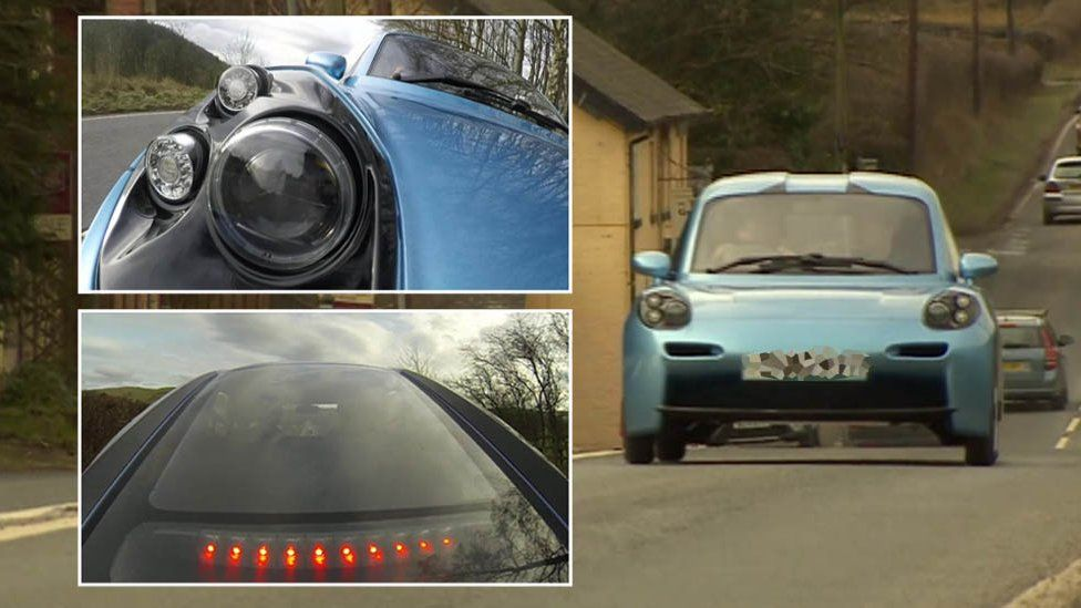 The Rasa car, including a shot of the back and the headlight