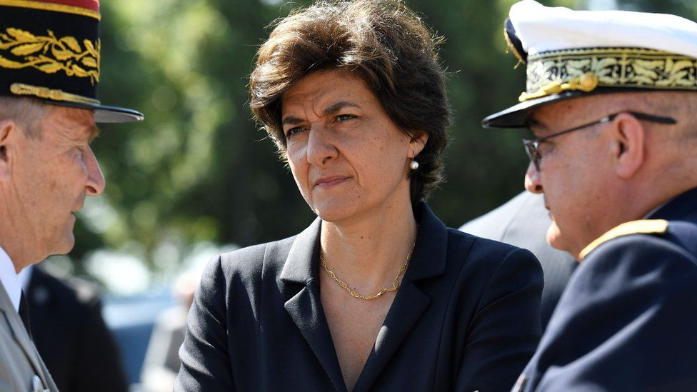 "French Minister of the Armed Forces Sylvie Goulard (C) attending the ceremony to mark the 77th anniversary of late French General Charles de Gaulle""s appeal of June 18, 1940"