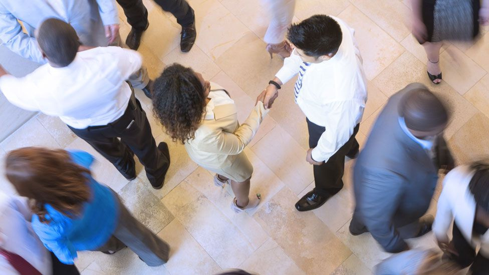 Businesspeople in a lobby
