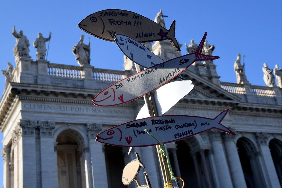"""A demonstrator holds cardboard cutouts of sardines during a """"Sardine Movement"""" rally in Rome, 14 December"""