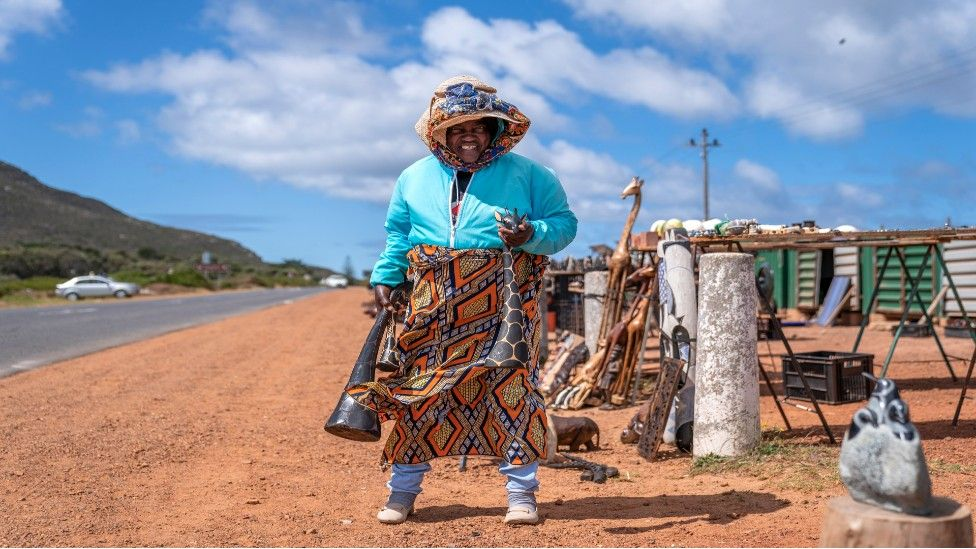 An art seller by the side of the road in Cape Town, South Africa - Friday 20 March 2020