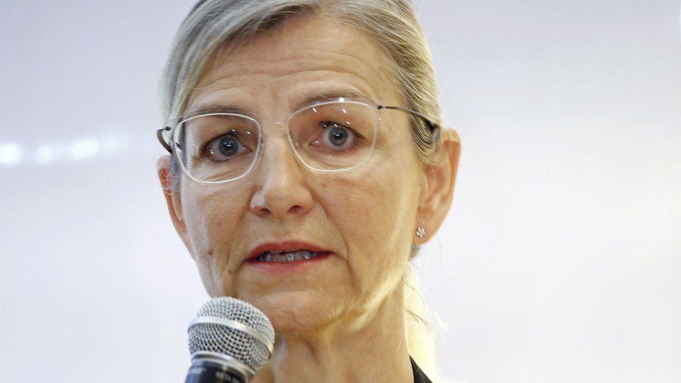 Danish Minister for Development Cooperation Ulla Tornaes addresses the media in Dhaka, Bangladesh 31 October 2018.