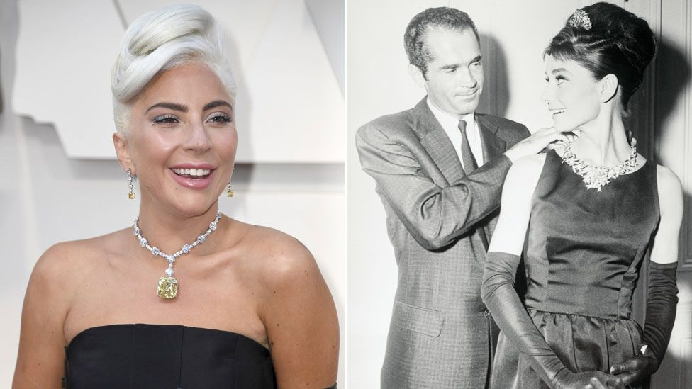 Lady Gaga and Audrey Hepburn with an unidentified man