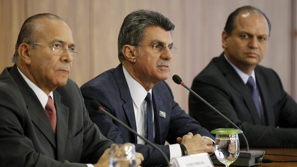 (L-R) New Brazilian Chief of Staff Eliseu Padilha, Brazilian Planning Minister Romero Juca and Health Minister Ricardo Barros speak during a press conference in Planalto Palace, Brasilia, 13 May