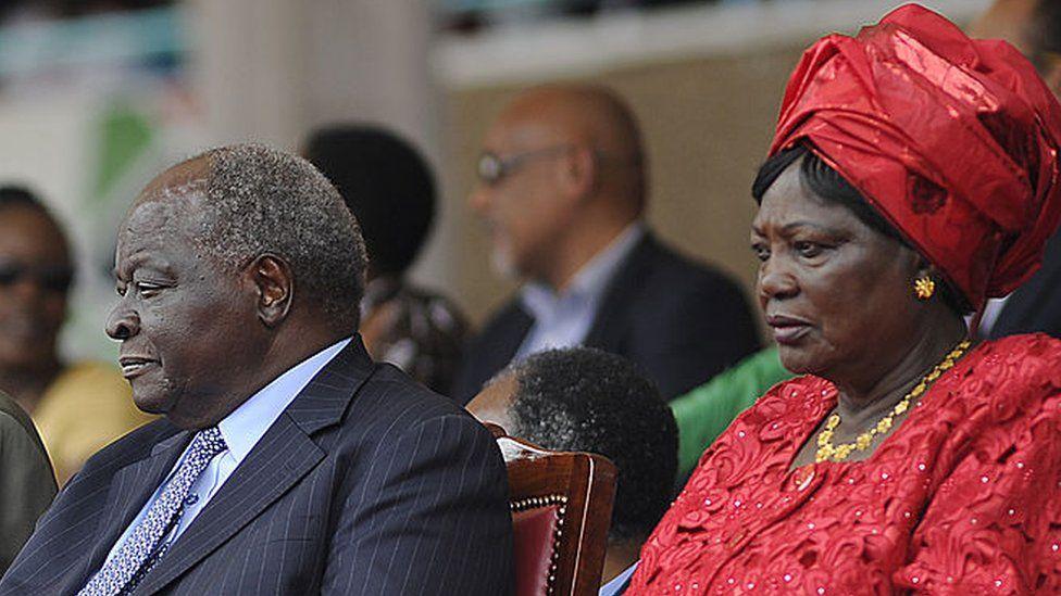 Kenya former president Mwai Kibaki (3rd-L) and Ngina Kenyatta